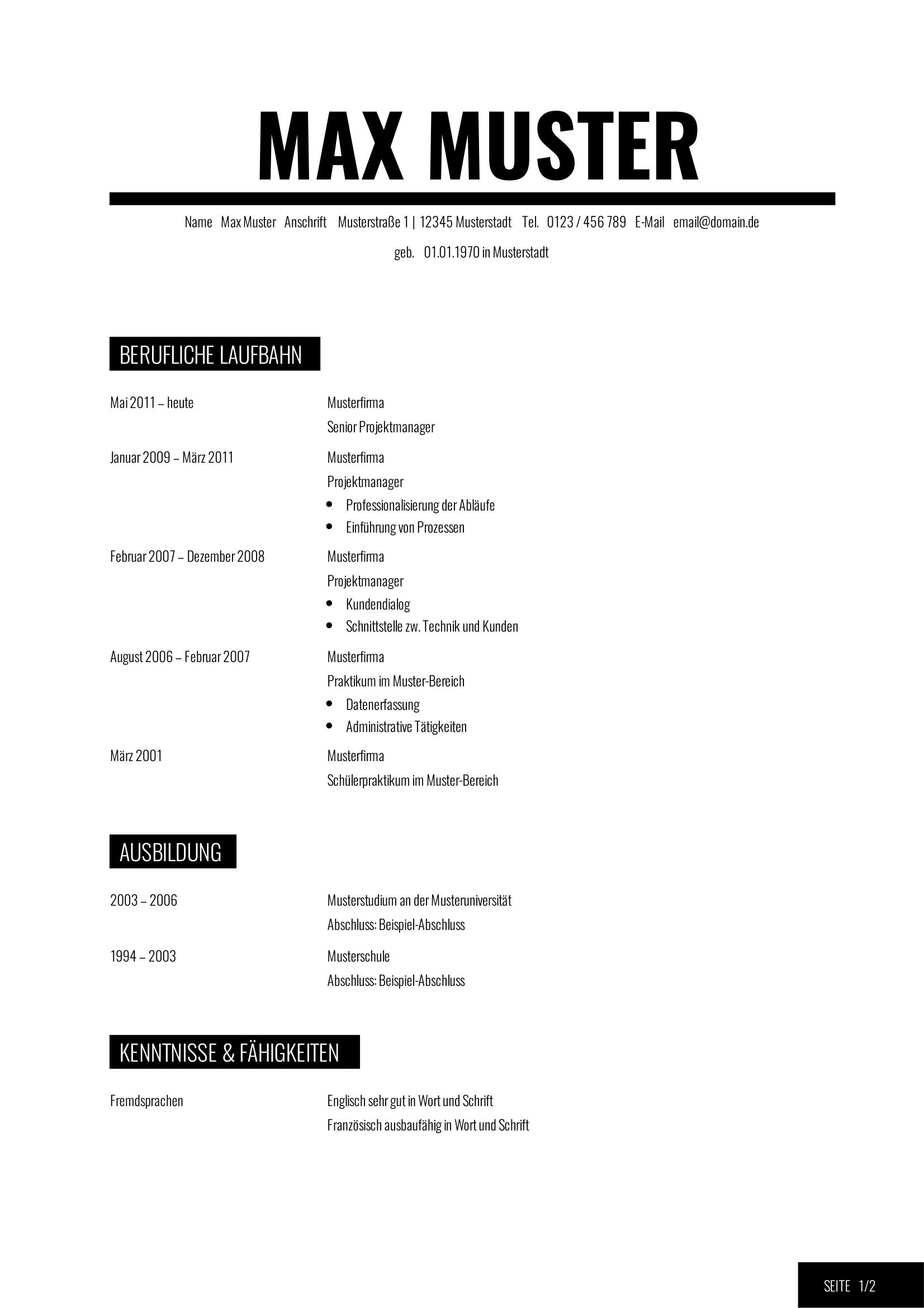 Vorlage Lebenslauf englisch